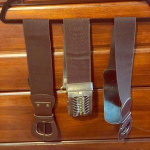 Accessories - Three Brown Fashionable Waist Belts